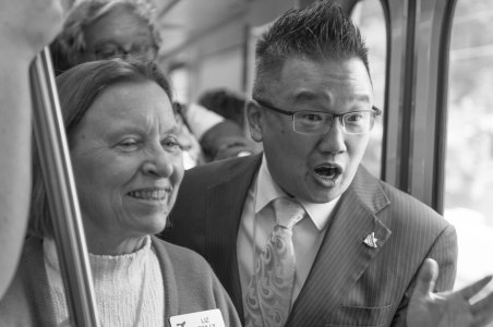 Duarte Council Member Liz Reilly and Mayor Sam Kang. Photo by Steve Hymon/Metro.