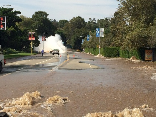 A pipe burst near UCLA. Photo by LAFD.