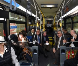 Officials on the bus on Thursday.