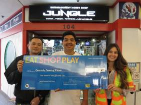 $250 Winner: Entertainment Hobby Shop Jungle - Anime Jungle Los Angeles (left), Winner - Rene R. (center), Regional Connector Constructors (right)