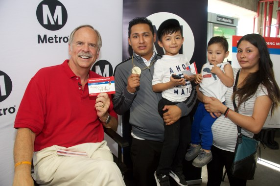 Gold medalist John Naber at Sierra Madre Villa Station on Tuesday. Photos by Gary Leondard for Metro.