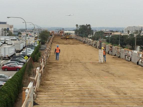 A stretch of the alignment north of Imperial Highway near LAX.
