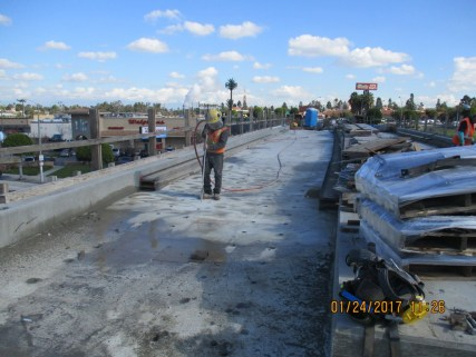 Deck drilling on the bridge over La Brea.