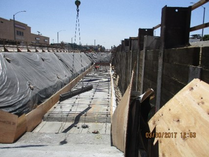 Installation of rebar at the location of the future Hyde Park station.
