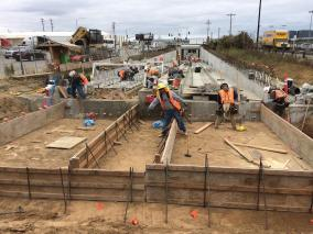 Formwork installation for the northern approach slabs on the section of tracks next to the LAX south runways.