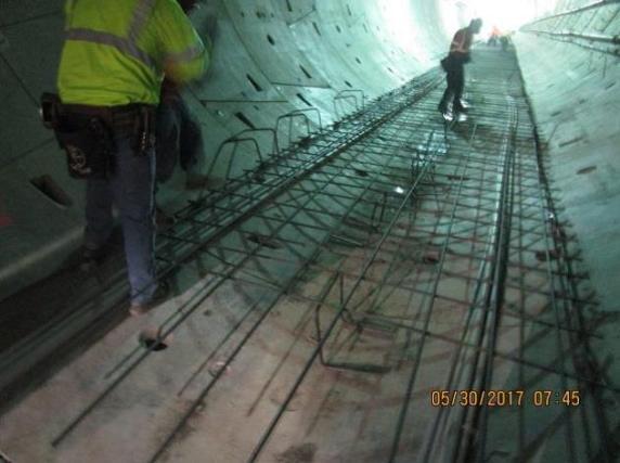 Installing rebar in the northbound tunnel under Crenshaw Boulevard.