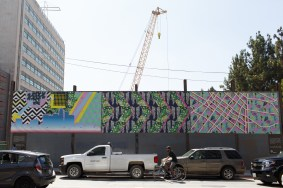 Artwork Banner at 2nd Street and Broadway construction site.