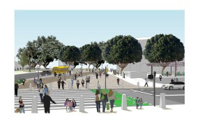 Rendering of new crosswalk across Alameda from same vantage point.