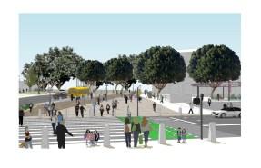 Rendering of new crosswalk across Alameda from same vantage point.