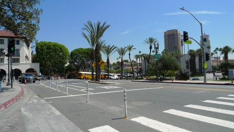 Crosswalk across Los Angeles Street, present day.