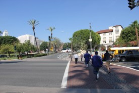 Present day view of crosswalk across Alameda looking from the Union Station side.