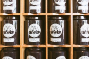Canisters of tea at Chado Tea Room.