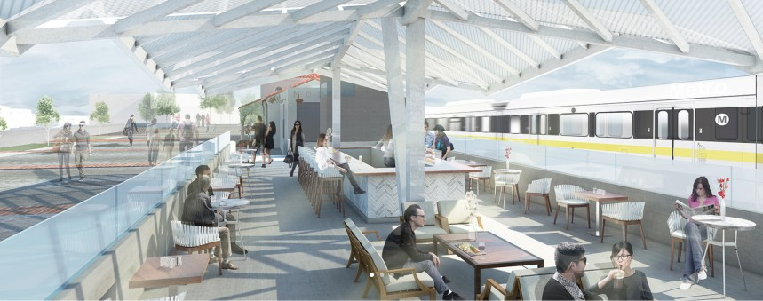 Rendering of Monrovia Santa Fe Depot restaurant patio by Samuelson & Fetter.