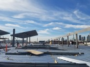 Roof of MOW building where cars will park under solar panels.