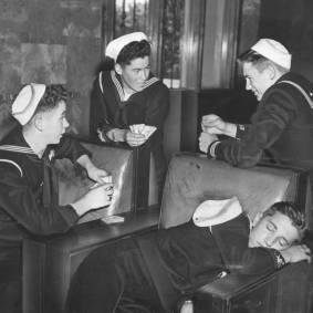 Sailors at Union Station, 1946. Photo courtesy of LAPL.