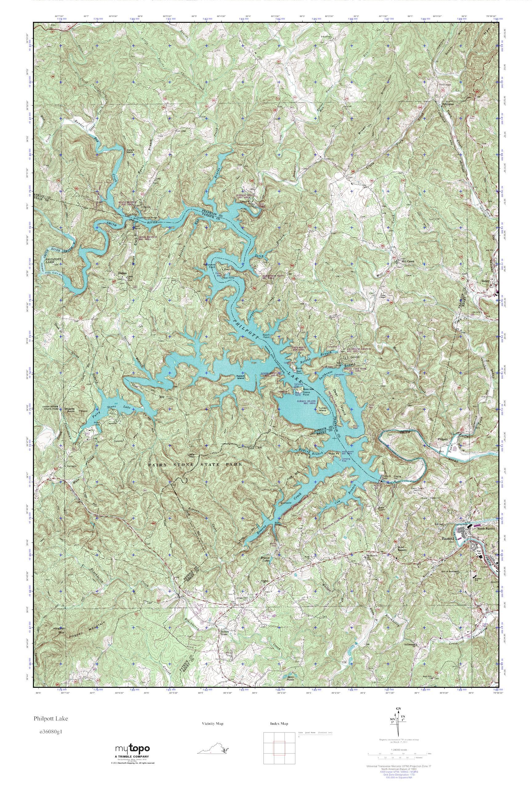 Mytopo Philpott Lake Virginia Usgs Quad Topo Map