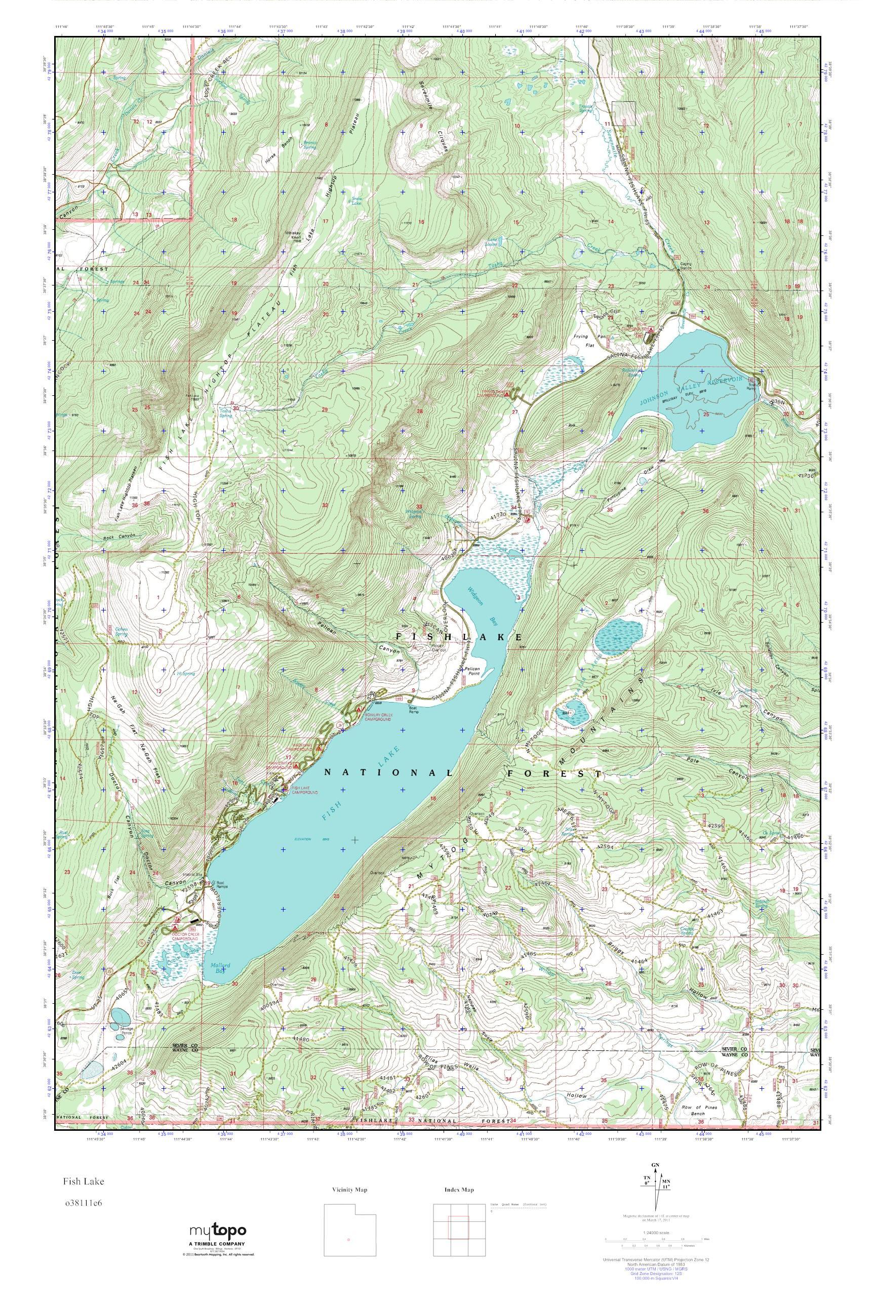 Mytopo Fish Lake Utah Usgs Quad Topo Map