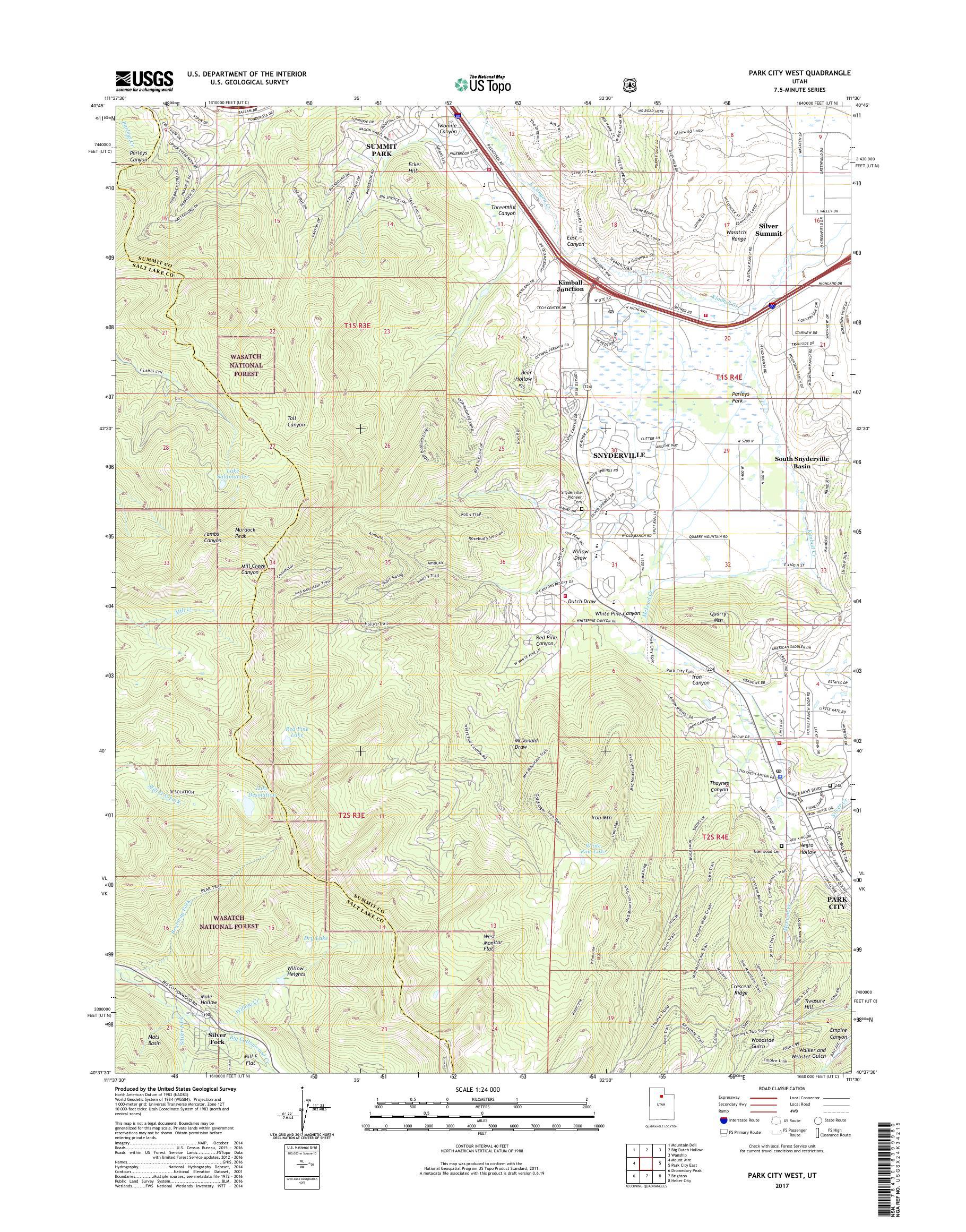 Mytopo Park City West Utah Usgs Quad Topo Map