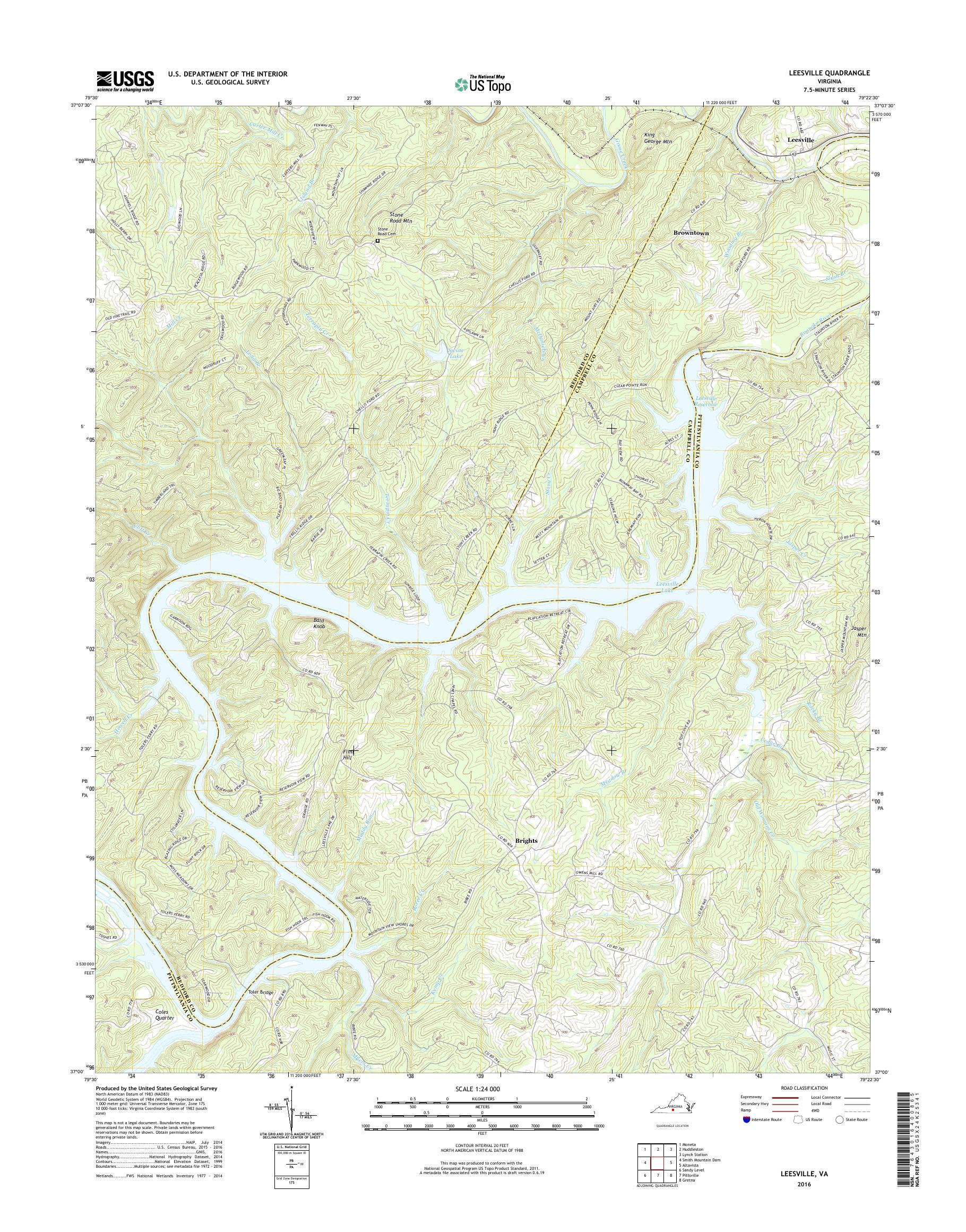 Mytopo Leesville Virginia Usgs Quad Topo Map