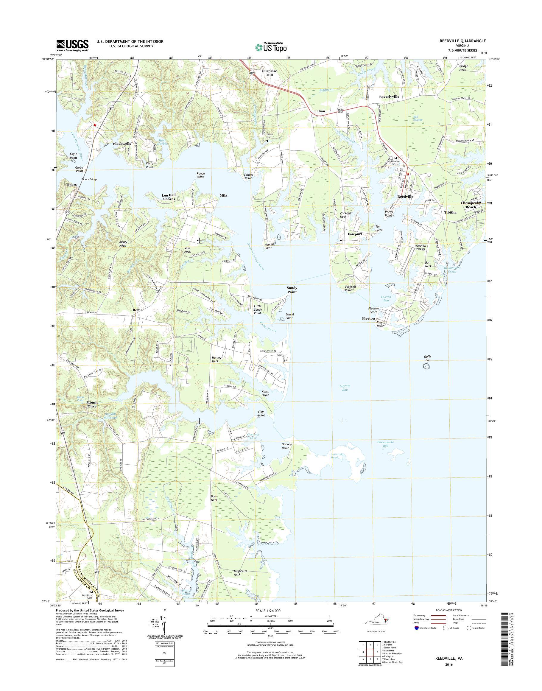 Mytopo Reedville Virginia Usgs Quad Topo Map