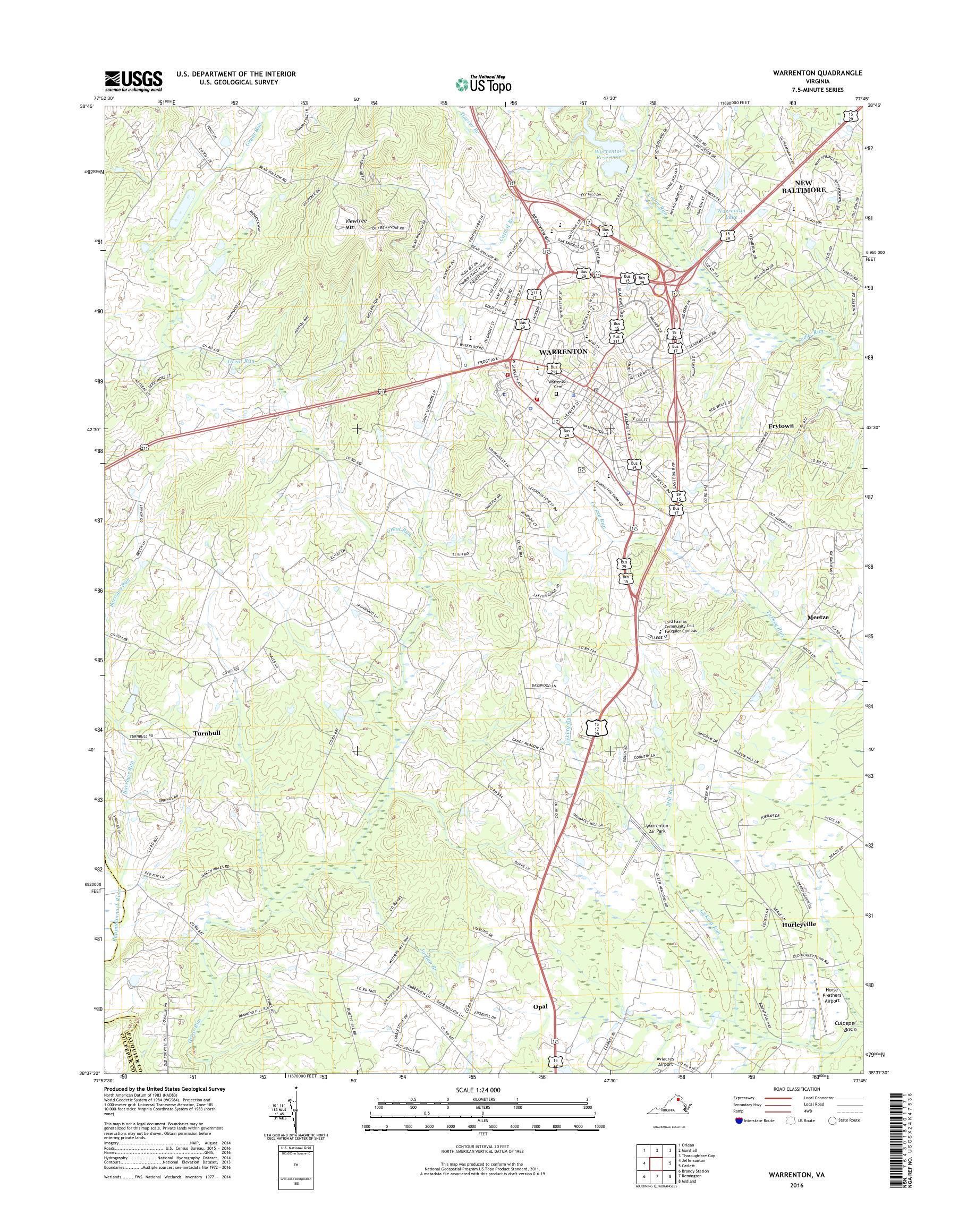 Mytopo Warrenton Virginia Usgs Quad Topo Map