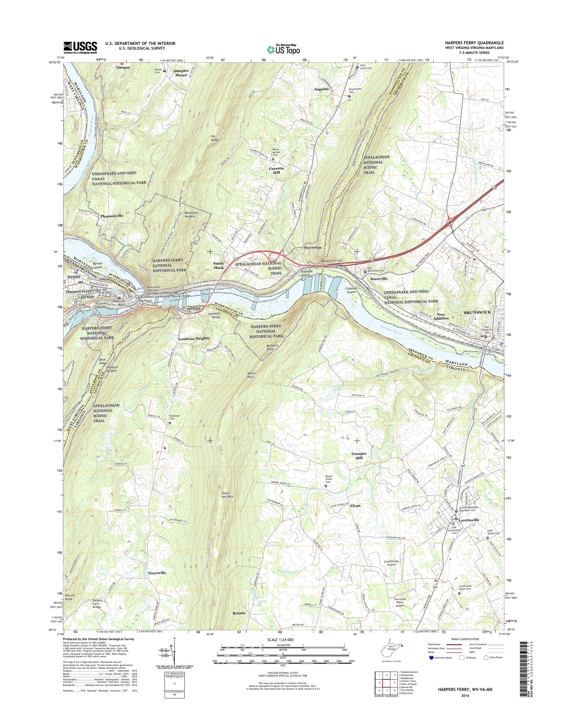 Mytopo Harpers Ferry West Virginia Usgs Quad Topo Map