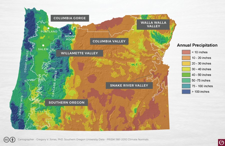 Oregon Rainfall Map   Oregon Wine Resource Studio