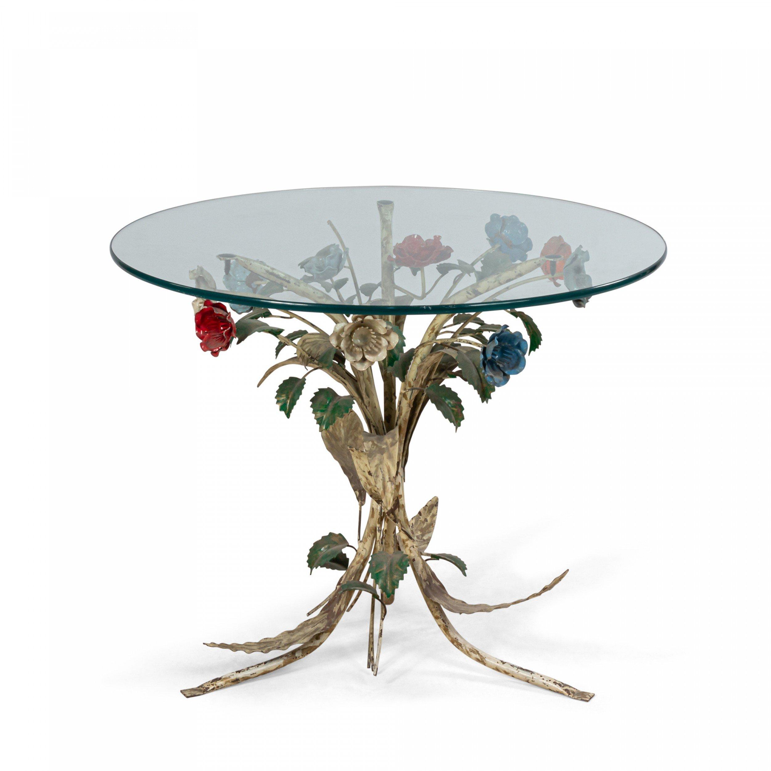 mid century metal floral base round