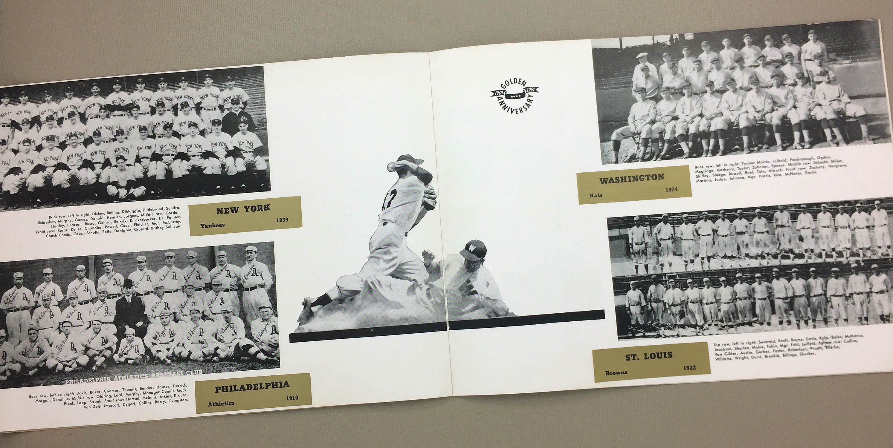 Charles Comiskey/'s 1951 American League Golden 50th Anniversary Publication