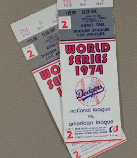 World Series 1974 Game 2 Ticket stubs