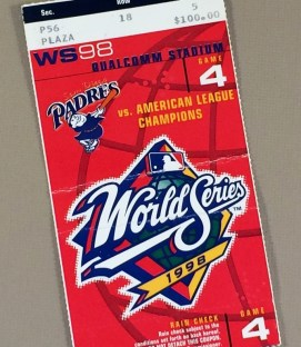 World Series 1998 Game 4 Ticket stub