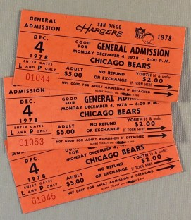 1978 San Diego Chargers Monday Night Football Ticket Stubs