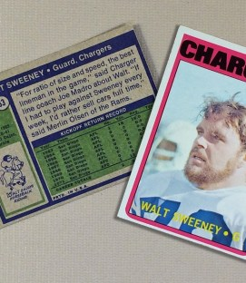 1972 San Diego Chargers Walt Sweeney Collectors Card