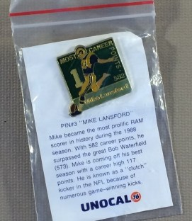 Los Angeles Rams Mike Lansford Commemorative Pin