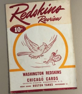 1945 Washington Redskins vs Chicago Cards Game Program
