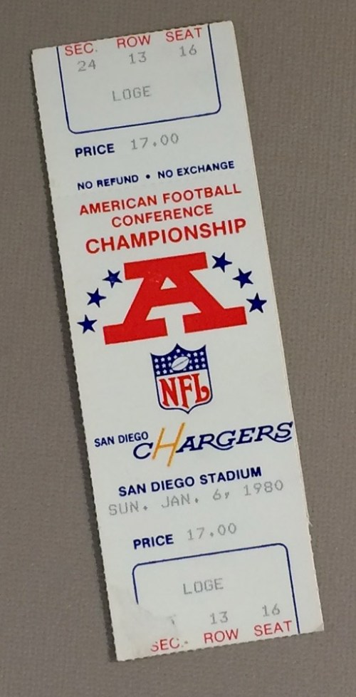 San Diego Chargers 1980 AFC Playoffs Ticket