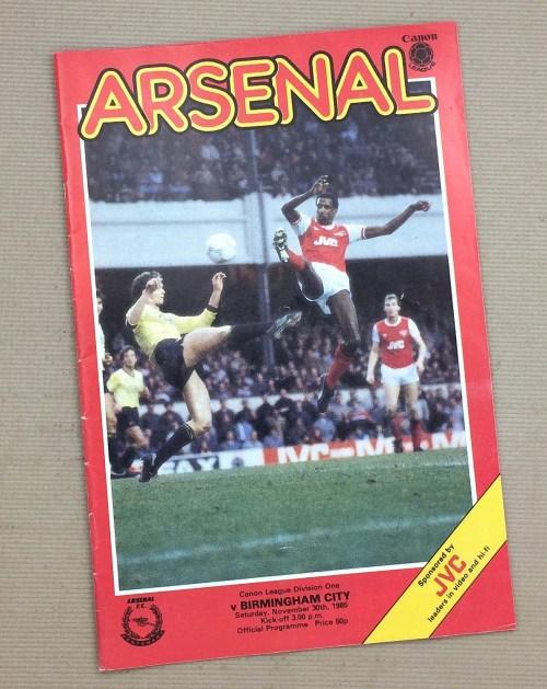 Arsenal 1985 Match Program