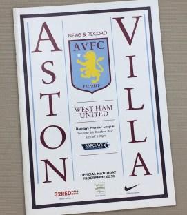 Aston Villa West Ham 2007 Program