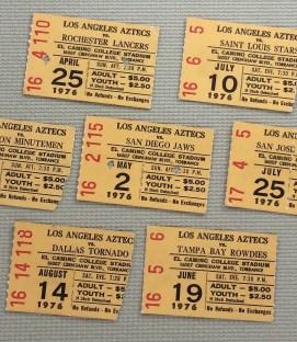 Los Angeles Aztecs 1976 Ticket Stub Set