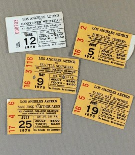 LA Aztecs Ticket Stubs against teams that exist now