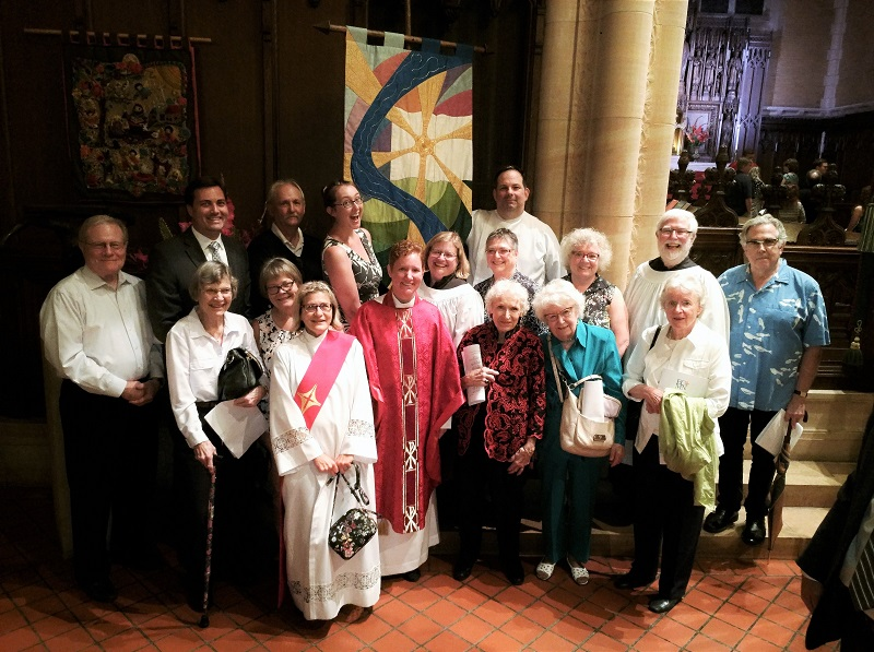 We welcome to the Lord's table as today's presider our own Reverend Peggy Schnack, one of the seven fresh new Priests ordained on Tuesday in the Episcopal Church in Minnesota.