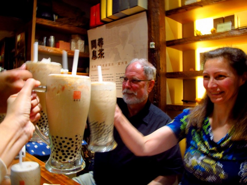 Cheers with bubble milk tea