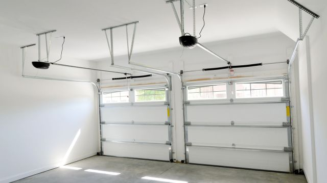 Inside a two-car garage.