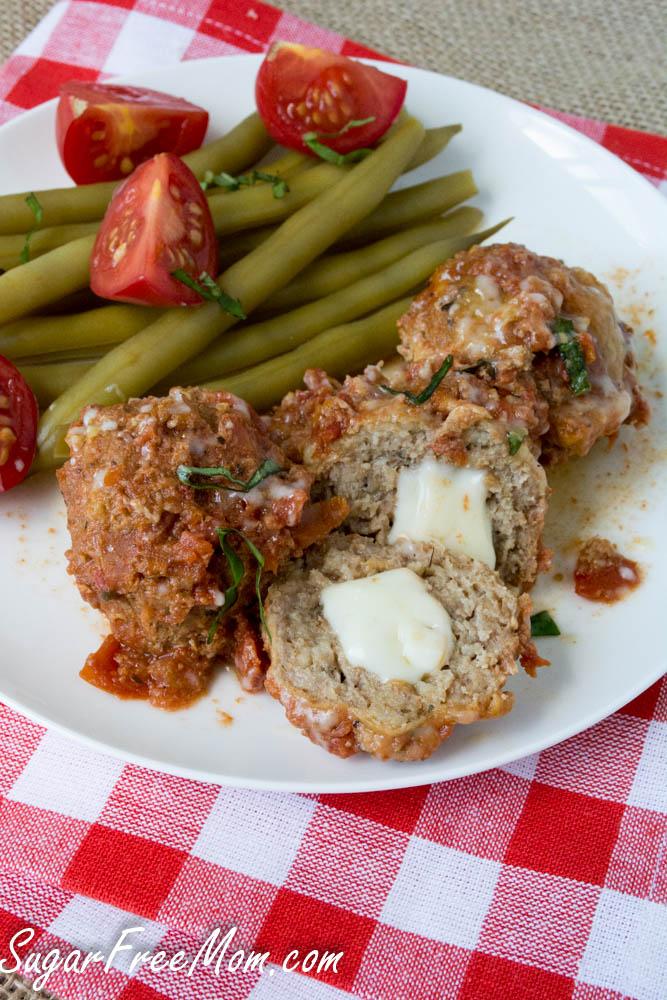 Cheese stuffed turkey meatballs keto crockpot recipe