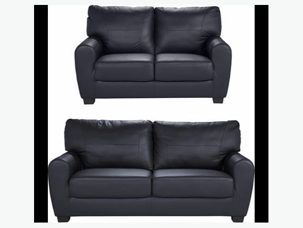 Stefano Large And Regular Leather Sofa Black Bilston Sandwell