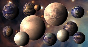 The image is the illustration of several probably habitable worlds