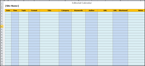 Simple Content Template Created Using A Spreadsheet