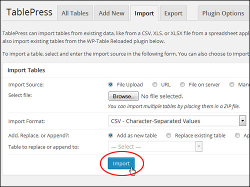 Inserting Tables Into Pages And Posts With WordPress