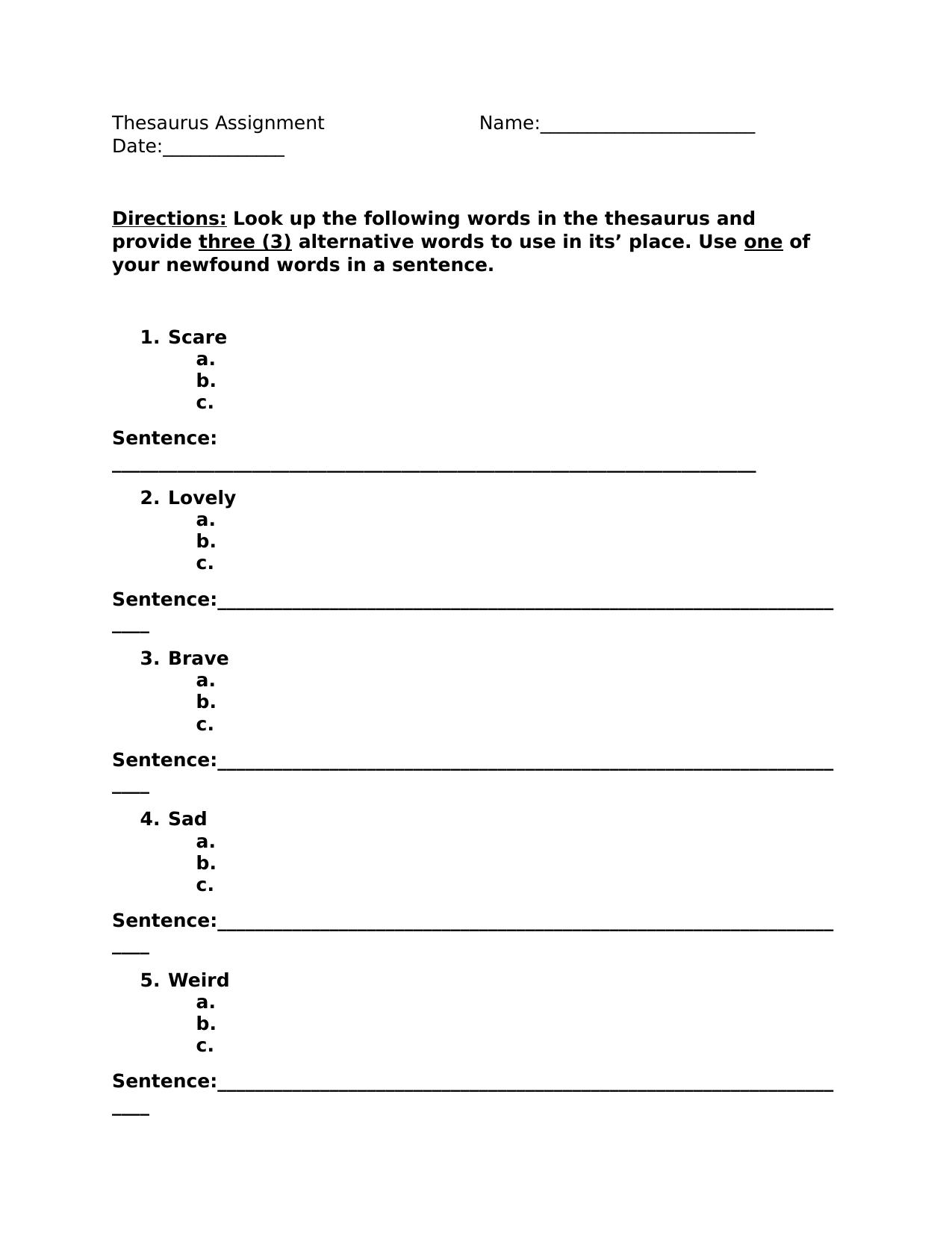 Thesaurus Assignment By Missbratt Ninja Plans