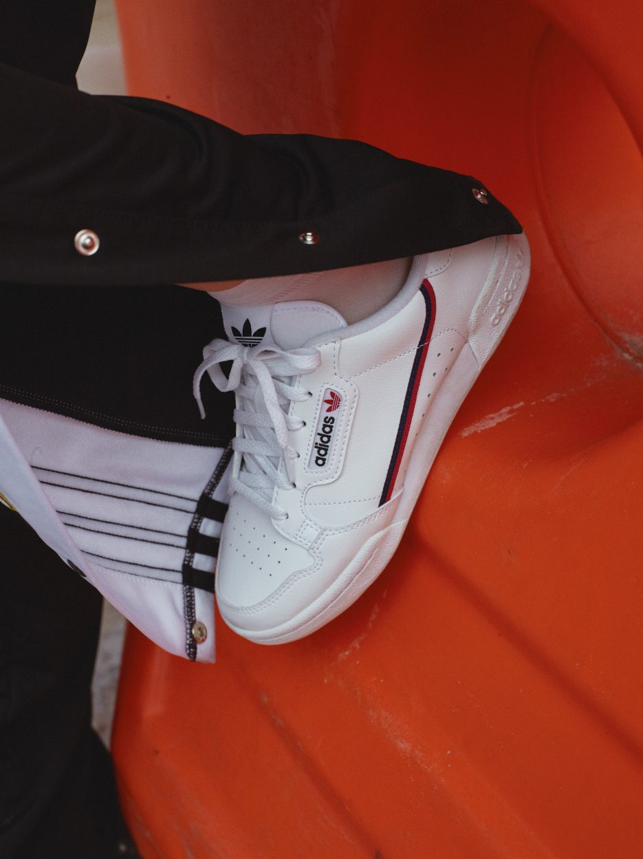 Adidas Continental 80 sneaker on an orange cone